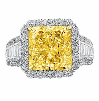 'Sofia' Halo Engagement Ring for Radiant Fancy Intense Canary Diamond