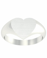 Solid Back Heart Signet Ring for Ladies