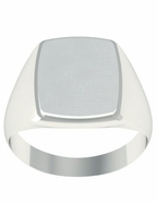 Solid White Gold Signet Ring