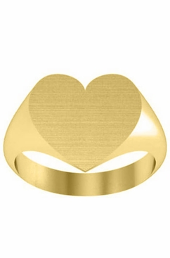 Solid Yellow Gold Heart Womens Signet Rings - click to enlarge