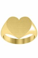 Solid Yellow Gold Heart Womens Signet Rings