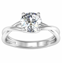 Solitaire Engagement Ring with Entwined Band