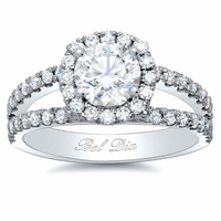 Split Band Round Halo Diamond Engagement Ring