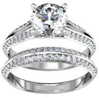 Split Shank Engagement Ring & Matching Wedding Band 1.25cttw