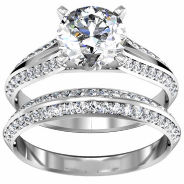 Split Shank Engagement Ring & Matching Wedding Band 1.25cttw - click to enlarge