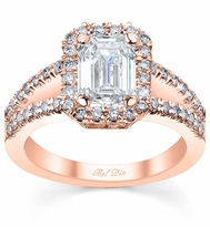 Split Shank Halo Rose Gold Engagement Ring