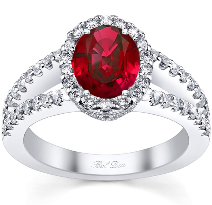 split shank oval ruby halo engagement ring - Ruby Wedding Ring