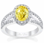 Split Shank Oval Yellow Diamond Engagement Ring