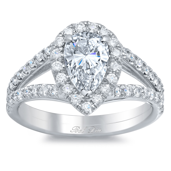 Split Shank Pear Shaped Engagement Ring