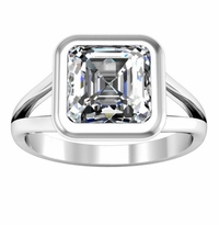 Split Shank Solitaire Engagement Ring with Bezel Setting