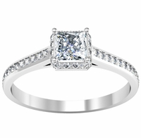 Square Halo Engagement Ring with Princess Center Stone 0.75 cttw