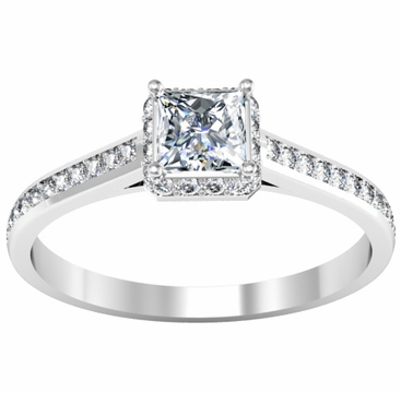 Square Halo Engagement Ring with Princess Center Stone 0.75 cttw - click to enlarge