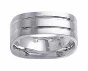 Square Platinum Mens Wedding Band in 8mm Comfort Fit