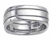 Square Platinum Wedding Ring in 8mm with Two Grooves