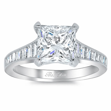 Step Cut Engagement Ring Setting with Baguettes - click to enlarge