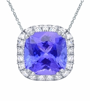 Tanzanite Cushion Halo Pendant