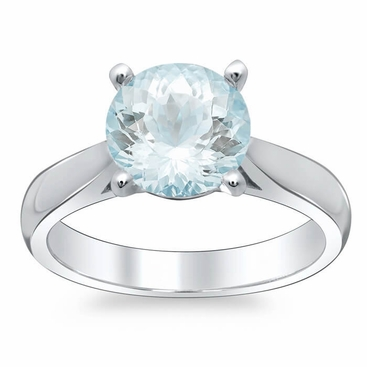 Tapered Aquamarine Solitaire Engagement Ring - click to enlarge
