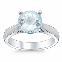 Tapered Aquamarine Solitaire Engagement Ring