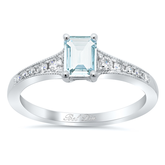 tapered diamond engagement ring with emerald cut aquamarine - Aquamarine Wedding Rings
