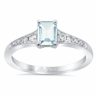 Tapered Diamond Engagement Ring with Emerald Cut Aquamarine