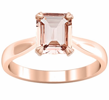 Tapered Emerald Cut Morganite Solitaire Engagement Ring - click to enlarge