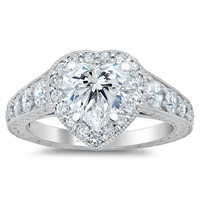 Tapered Heart Halo Engagement Ring