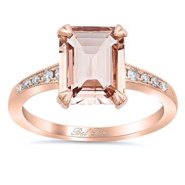 Tapered Pave Diamond Engagement Ring for Emerald Morganite - click to enlarge