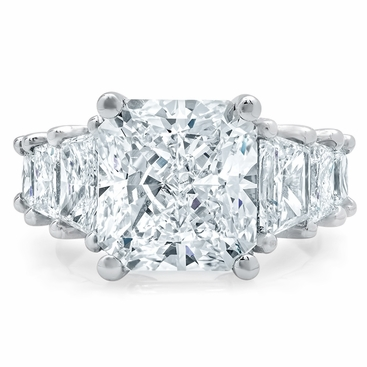 Tapered Radiant Engagement Ring with Trapezoids - click to enlarge