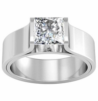 Tension Set Style Princess Solitaire Flat Engagement Ring
