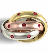 Three Color Ruby Russian Wedding Ring