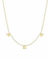 Three Letter Pendant Necklace in Gold