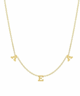 Three letter pendant necklace in gold three letter pendant necklace in gold click to enlarge aloadofball Image collections