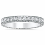 Three Row Pave Eternity Ring with Milgrain