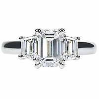 Three Stone Diamond Engagement Ring 1.25cttw Emerald and Trapezoids