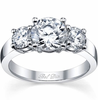 Three Stone Round Engagement Ring Setting