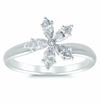 Tilted Marquise Diamond Flower Ring