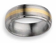 Titanium and Gold Mens Wedding Band