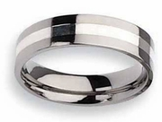 Titanium and Silver Ring High Polish Finish in 6mm