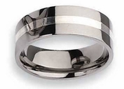 Titanium and Silver Ring High Polish Finish in 8mm