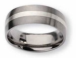 Titanium and Silver Wedding Band Matte Finish in 8mm
