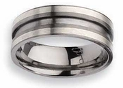 Titanium and Silver Wedding Ring Matte Finish in 8mm