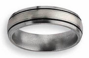 Titanium Ring  Silver and Black Inlay Matte and Antiqued Finish in 6mm