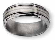 Titanium Ring  Silver and Black Inlay Matte and High Antiqued Finish