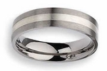 Titanium Ring  Silver Inlay Matte Finish in 6mm