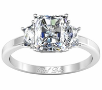 Trapezoid Three Stone Engagement Ring for Radiant Diamond