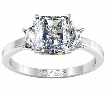 trapezoid three stone engagement ring for radiant diamond click to enlarge - Three Stone Wedding Rings