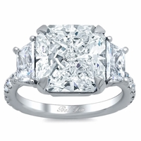 Trapezoid Three Stone Engagement Ring with Pave Band