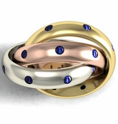 Tri-Color Blue Sapphire Trinity Ring