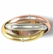 Tri-Color Diamond Rolling Ring