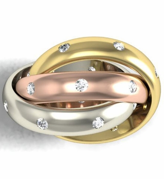 Tri-Color Diamond Trinity Ring - click to enlarge